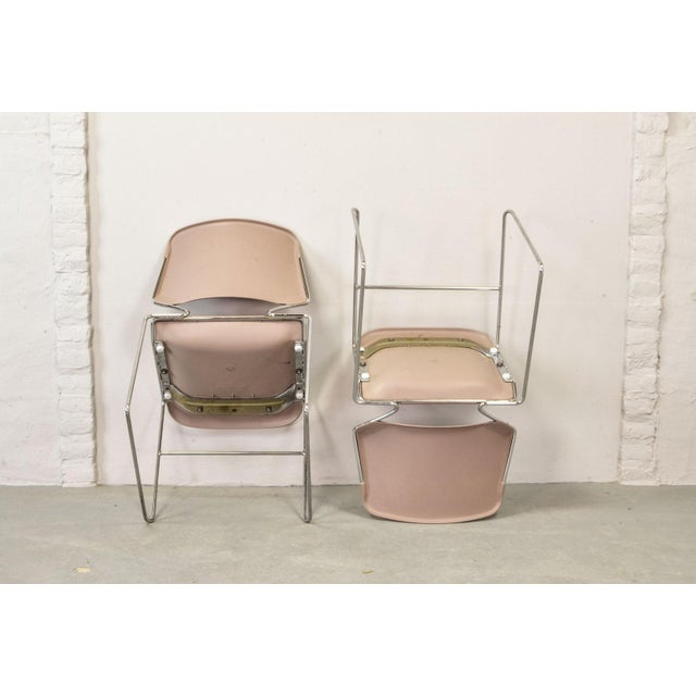 Set of Seven Mid-Century Muted Pink Stackable Dining Chairs by Thomas Tolleson for Matrix Krueger, Usa, 1970s For Sale - Image 10 of 13