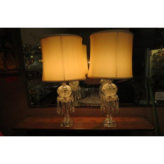 1940s Vintage Antique Glass and Crystal Lamps - a Pair Preview