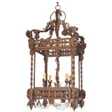 Image of Fine Quality French Heavy Wrought Iron Lantern For Sale