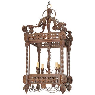 Fine Quality French Heavy Wrought Iron Lantern For Sale
