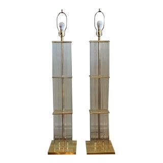 Mid Century Modern MCM Vintage 1970's Gaetano Sciolari Art Deco Hollywood Regency Floating Glass Rods Floor Lamps - a Pair For Sale