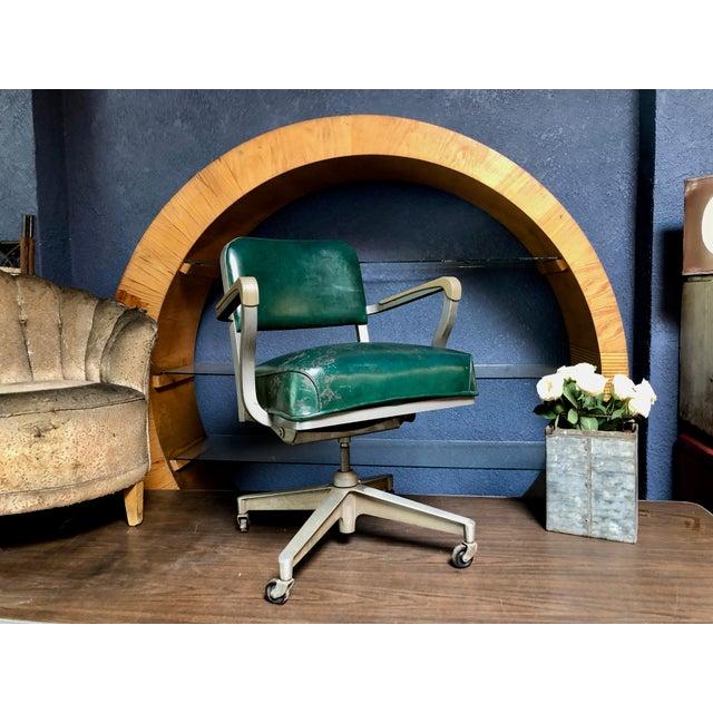 1950s Vintage Beefy Steelcase Banker Rolling Desk Chair For Sale - Image 11 of 11