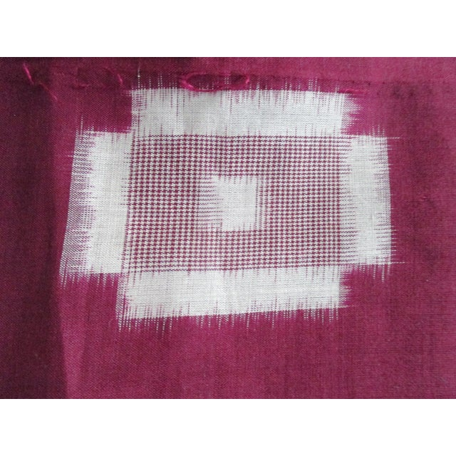 """Vintage Burgundy and Natural Obi Textile, light weight almost sheer cotton and silk blend. Ideal for pillows. Size: 13.5""""H..."""