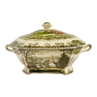 Vintage Johnson Bros. English 'Friendly Village' Square Tureen For Sale