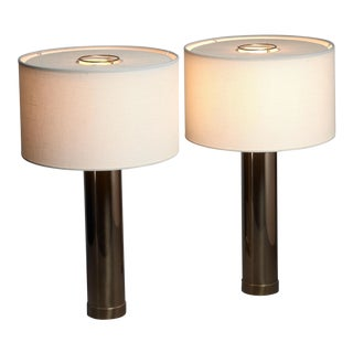 Bergboms pair of brass table lamps, Sweden, 1960s For Sale