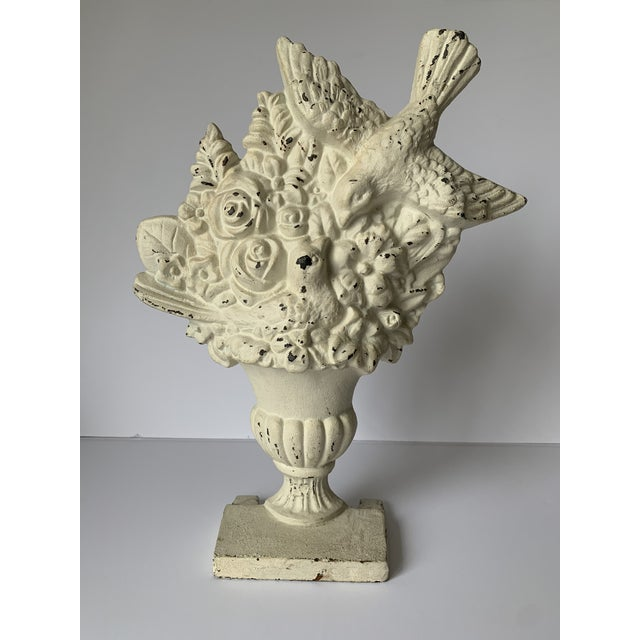 Cast Iron Bird & Floral Bouquet Doorstop For Sale In New York - Image 6 of 6