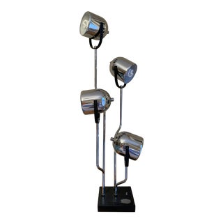Reggiani 4 Head Chrome and Black Table Lamp For Sale