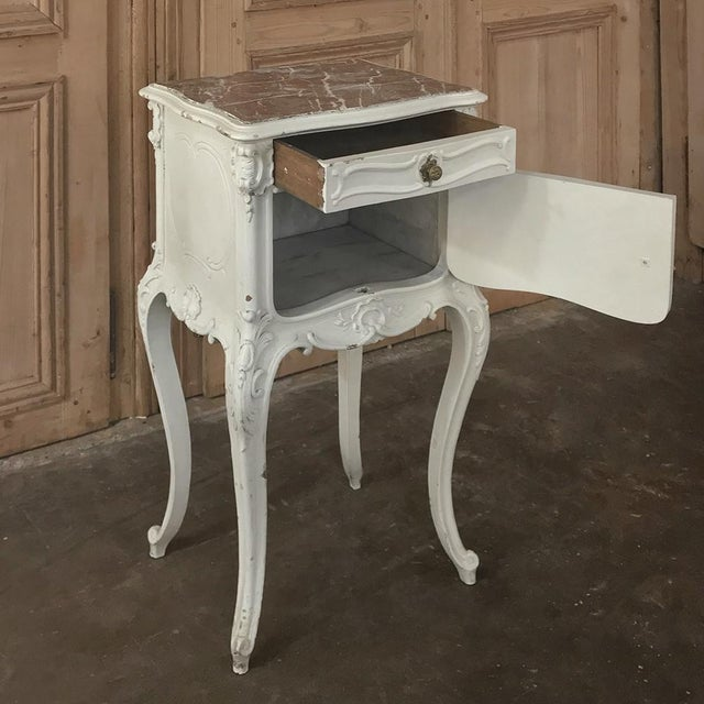 19th Century French Louis XV Painted Nightstand For Sale - Image 10 of 13