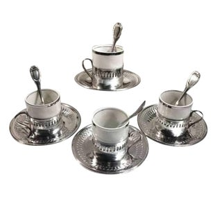 Vintage Porcelain & Metal Expresso Cup & Saucer Set W Spoons Brazil- Group of 4 For Sale