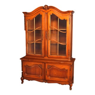 French Style Carved Oak Double Glass Door Breakfront Cabinet, 20th Century For Sale