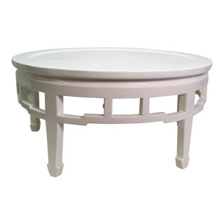1990s Chinoiserie White Lacquer Cocktail/Coffee Table For Sale