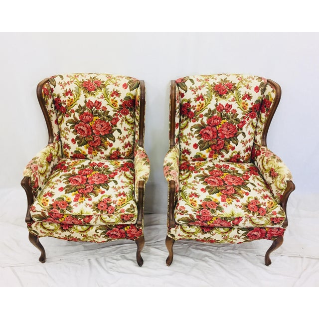 Vintage Floral Chintz Armchairs - A Pair For Sale - Image 4 of 11