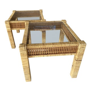 Vintage Wicker Wrapped Bamboo Insert Side Tables - a Pair For Sale