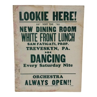 """1930s Vintage """"Dancing Saturday Night"""" White Front Lunch Sign For Sale"""