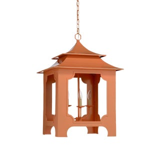 Coral/Peach Lacquered Iron Pagoda Lantern For Sale