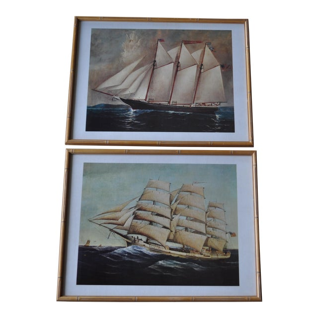 Vintage Nautical Ship Prints in Bamboo Frames - a Pair For Sale