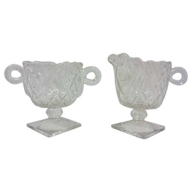 Deco Glass Footed Creamer & Sugar Bowls - A Pair - Image 1 of 4