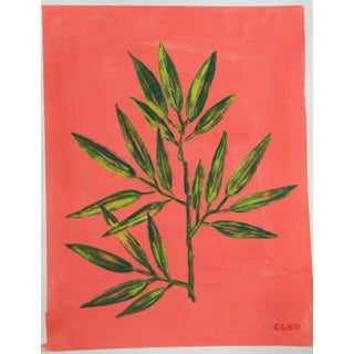 Botanic Bamboo Chinoiserie Still Life Painting by Cleo Plowden For Sale