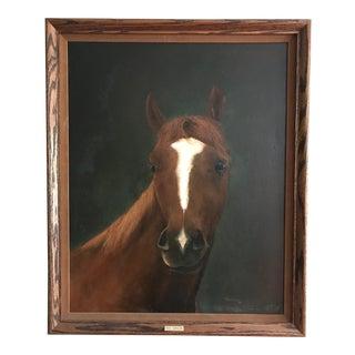Vintage Race Horse Portrait Painting For Sale