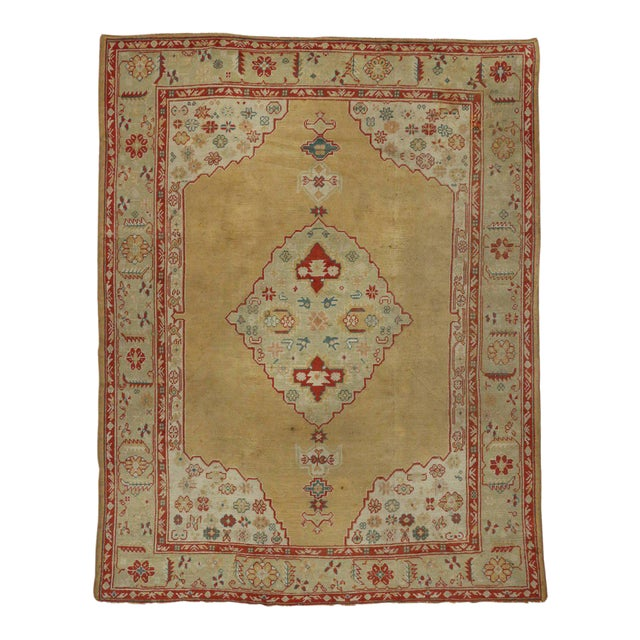 Antique Turkish Oushak Area Rug with Modern Traditional Style For Sale