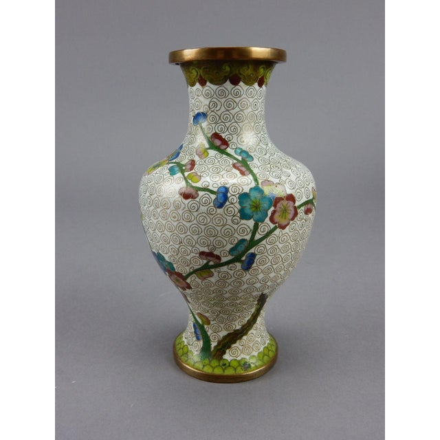 Gold Antique Chinese Cloisonne Vase For Sale - Image 8 of 11