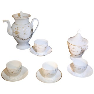 French White Porcelain With Gold Accent Tea Set For Sale