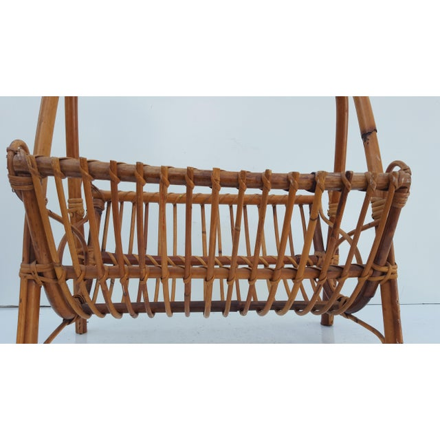 Brown Italian Original Franco Albini Rattan and Bamboo Magazine Rack For Sale - Image 8 of 10