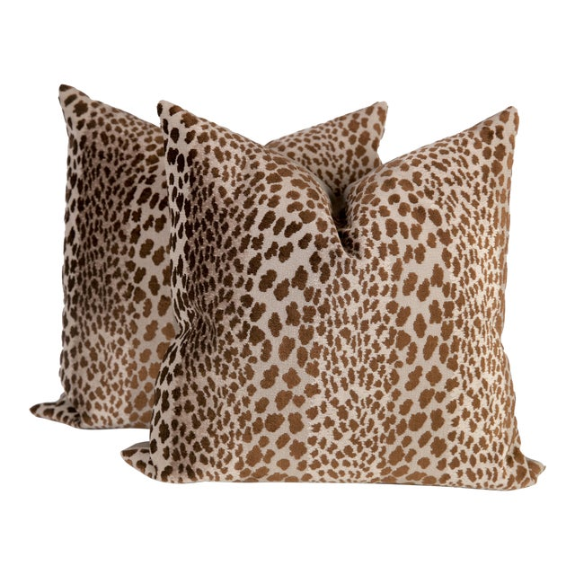Chocolate Velvet Cheetah Pillows - A Pair - Image 1 of 5