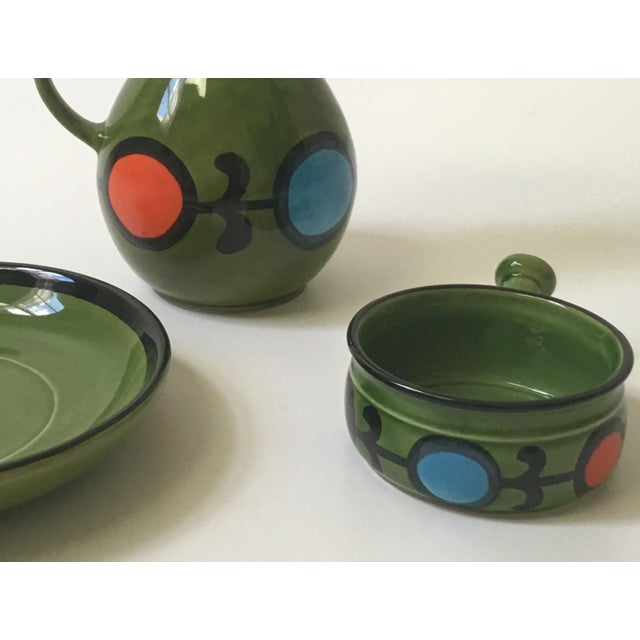 1960s Hand Painted Ceramic Pitcher & Serving Set For Sale - Image 5 of 8