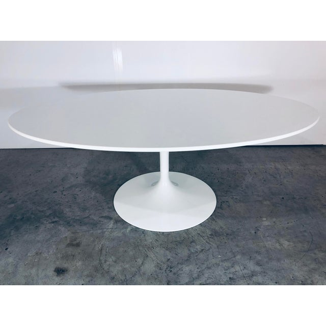 Mid-Century Modern Eero Saarinen for Knoll Oval White Laminate Tulip Coffee Table For Sale - Image 9 of 12
