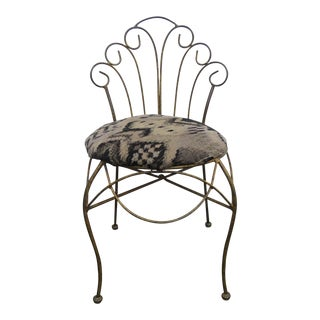 Hollywood Regency Distressed Metal Small Child Vanity Side Chair For Sale