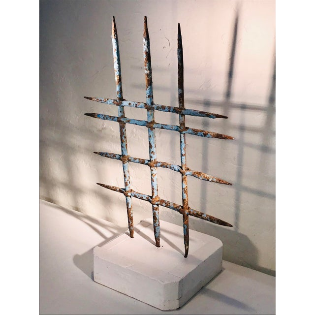 1920s Abstract Architectural Iron Sculpture Wall Hanging For Sale - Image 9 of 9
