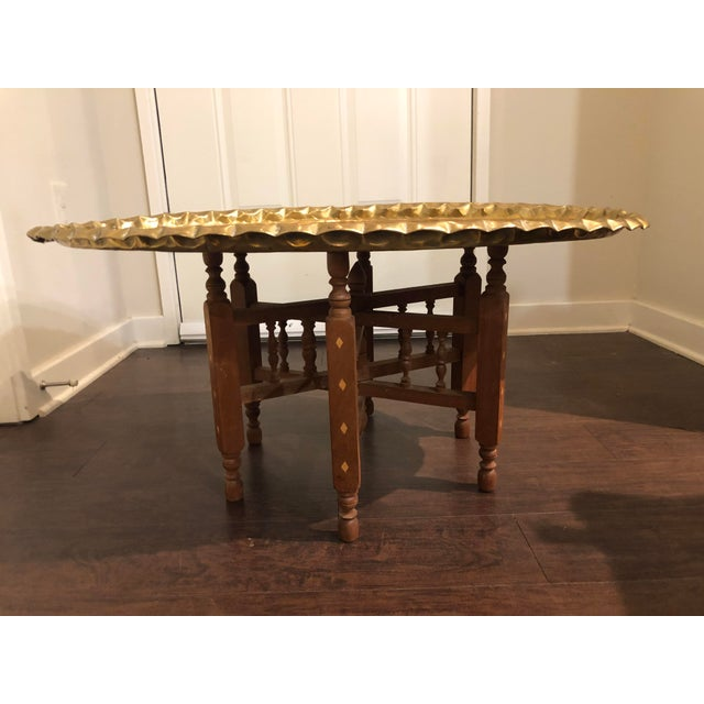Islamic 20th Century Morrocan Style Brass Tray Table For Sale - Image 3 of 9