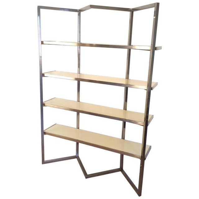 Chrome and Egg Shell Lacquered Etagere - Image 11 of 11