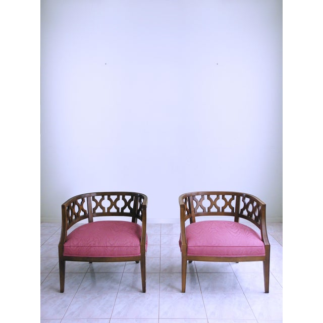 Hollywood Regency Mid Century Pink Lattice Back Barrel Chairs After William Billy Haines - a Pair For Sale - Image 3 of 9