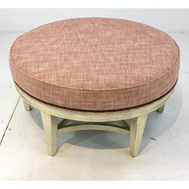 Stylish Pearson Transitional Coral Upholstered Ottoman #169, distressed cream wood base, showroom floor sample, original...