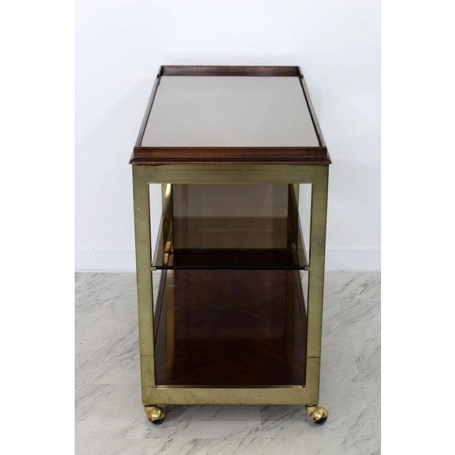 Gold 1960s Vintage Drexel Heritage Brass Wood 2-Tier Bar Cart For Sale - Image 8 of 12