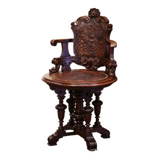 19th Century English Carved Oak and Embossed Leather Lady's Desk Armchair For Sale