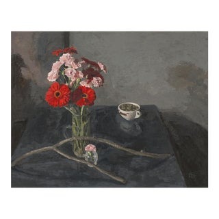 Red Gerberas and Pink Carnations Still Life Painting