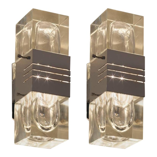 Pair of Midcentury Italian Glass and Chrome Sconces - Image 1 of 3
