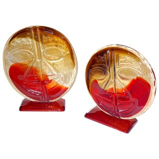 Cesare Toso 1970s Abstract Red and Amber Murano Art Glass Round Faces - a Pair For Sale