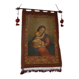 19th Century Italian Religious Banner Ave Maria Oliograph With Tassels For Sale
