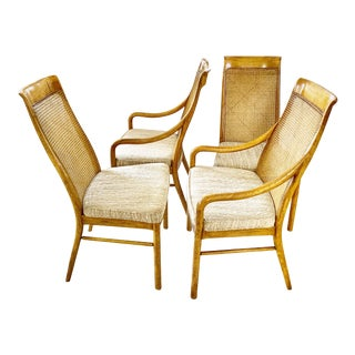 Set of Four Midcentury Danish Cane Dining Chairs For Sale