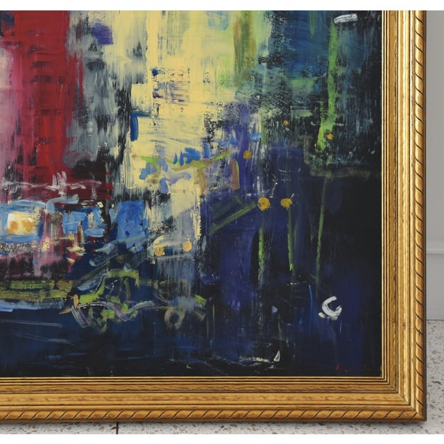 Late 20th Century Juan Guzman Los Angeles Cityscape Abstract Painting For Sale - Image 5 of 10