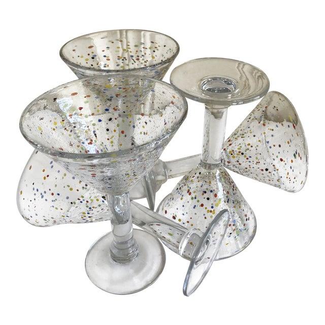 Large Artisan Confetti Martini Glasses- Set of 5 For Sale