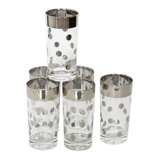 Set/8 Mid Century Barware Glasses With Polka Dot Design by Dorothy Thorpe For Sale
