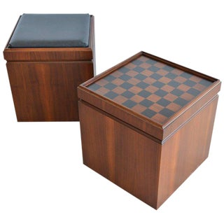 1965 Mid-Century Modern Walnut Checkerboard or Chess Game Cube Ottomans - a Pair