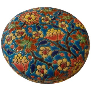 1920s Antique Emaux De Longwy French Porcelain Box For Sale