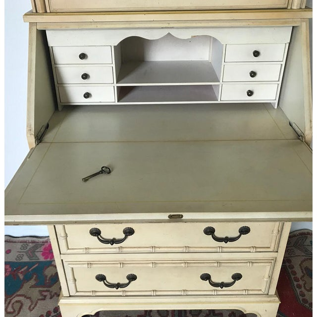 Faux Bamboo Secretary & Hutch For Sale - Image 4 of 7