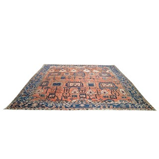 Antique Persian Heriz Hand Knotted Rug - 9′11″ × 10′10″ - Size Cat. 9x12 10x10 For Sale